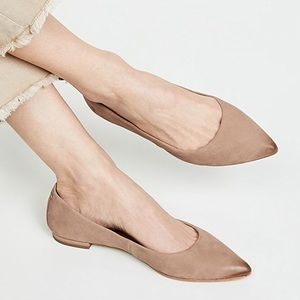🆕Frye Pointy Toe Ballet Flat Dark Taupe Leather